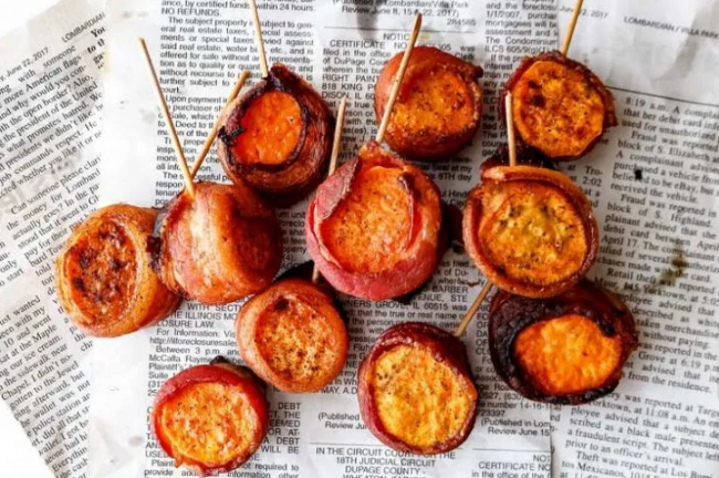 Wrapped Sweet Potatoes In Bacon